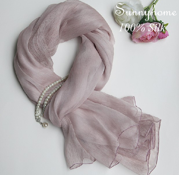 100% Pure Silk Summer scarf Womens Scarfs Fashionable bufandas mujer 2016 Pink Gray Color Soft Thin Shalinas y Pashminas Scarves