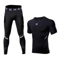 Survetement Football 2017 Running Sets Men Sports Suit Compression Underwear Fitness Gym Shirts Jogging Leggings Reflective