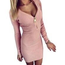 Vestidos 2017 Autumn Winter Women Dresses Zipper Sexy Knitted Dress Long Sleeve Bodycon Sheath Pack Hip