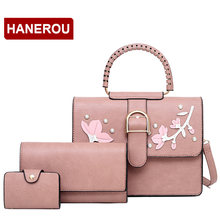Sweet Lady Fashion Small Square Bag Ladies 3Pcs Set Handbags Rivet Women Crossbody Bag Applique Small Shoulder Bags For Girls(China)
