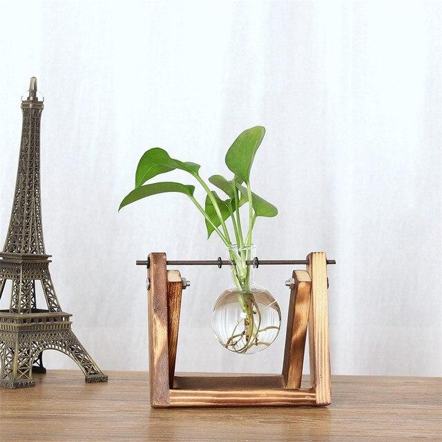 ISHOWTIENDA Vintage Creative Hydroponic Plant Transparent Vase Wooden Frame vase for decoratio Glass Tabletop Plant Bonsai.jpg 640x640 - decor, accessories - Flask Planter