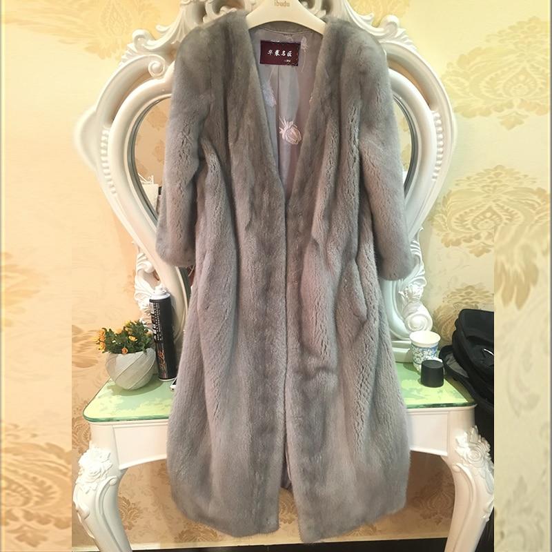 LVCHI Yeni stil bayanlar moda vizon palto Hakiki Deri Vizon Kürk - Bayan Giyimi - Fotoğraf 5