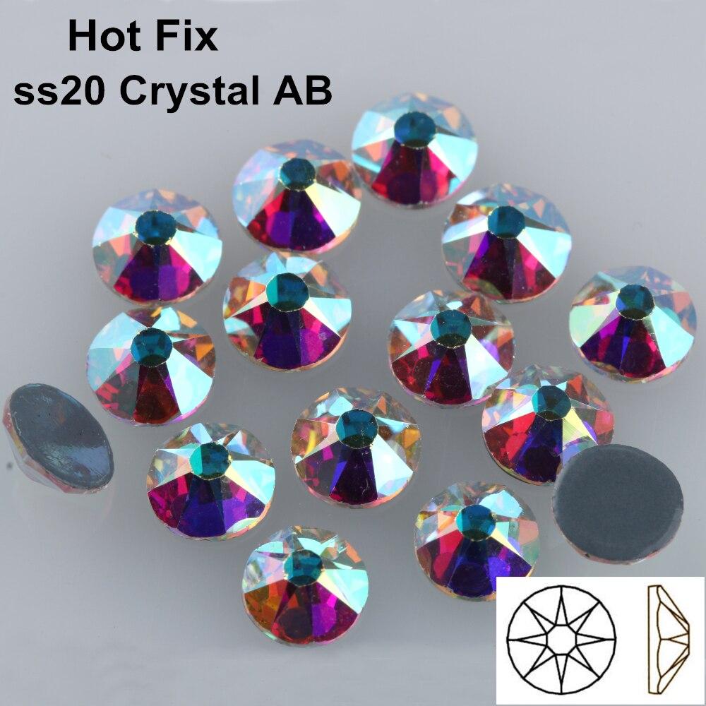 1440 pcs/Lot, AAA Qualité Nouveau Facted (8 grande + 8 petite) ss20 (4.8-5.0mm) cristal AB Fer Sur Hotfix Strass