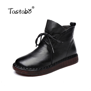 Image 2 - Tastabo Lace up Women Genuine Leather Ankle Shoes Flat with Vintage Lady Shoes Retro Solid Black Ankle Boots for Women