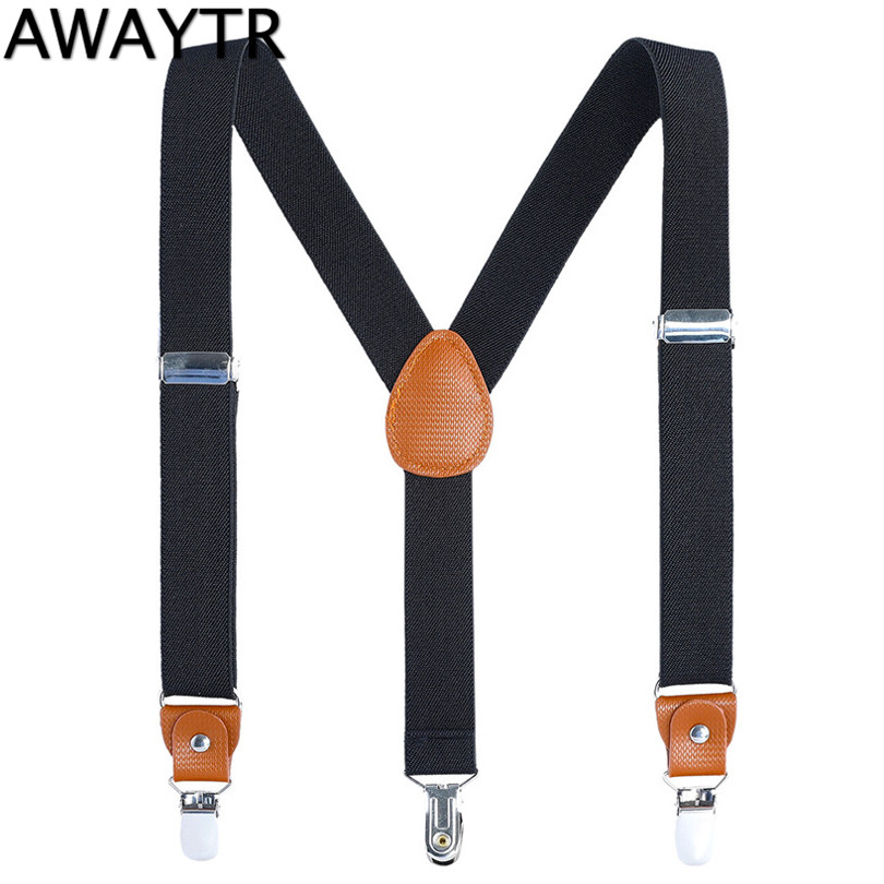 Discreet Awaytr 110cm Mens Suspenders Three Clips Black Navy Suspender Adult Leather Braces For Women Belt Strap Adjustable Shirt Men's Accessories