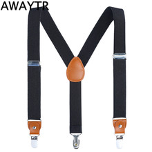 AWAYTR 110cm Men's Suspenders Three Clips Black Navy Suspender Adult Leather Braces for Women Belt Strap Adjustable Shirt