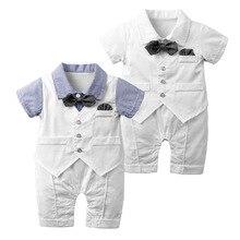 Комплекты одежды для новорожденных мальчиков в джентльменском стиле; костюмы на крестины для торжественной вечеринки; летняя верхняя одежда с короткими рукавами; костюмы для От 0 до 2 лет