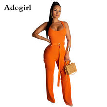 Adogirl Kintted Ribe Jumpsuit Women Sleeveless O Neck Back Zipper Belt wide leg Bodycon Romper Vintage With Pockets Overalls(China)
