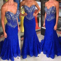 royal blue dress 2018 Mermaid Lace Evening Dresses Sweetheart Off Shoulder Beading Sweep Train Prom Gowns xq02