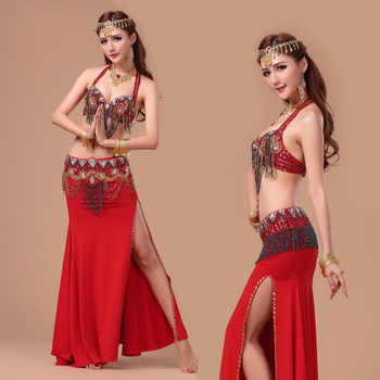 Performance 8 Colors Women Dancewear Professional Size S-L 3pcs Outfit Bra Belt Skirt Long Oriental Beads Costume Belly Dance - DISCOUNT ITEM  11% OFF All Category