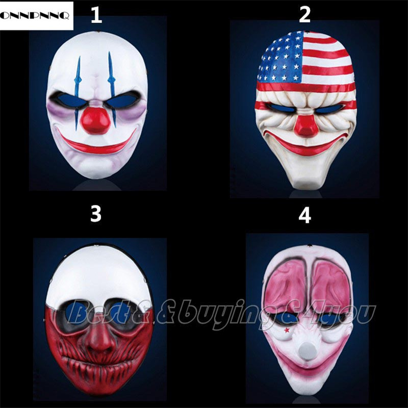 ONNPNNQ Hot Resin Game Payday 2 Dallas Masks Costume Prop Dress Heist font b Joker b