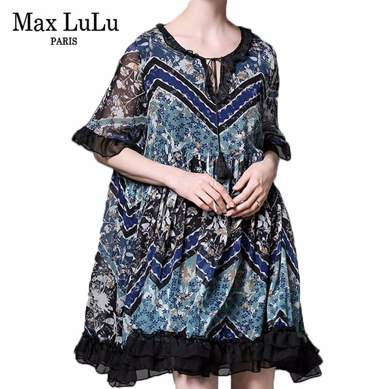 Max LuLu Luxury Vintage Korean Ladies Summer Clothes Women Chiffon Short Sleeve Mni Dresses Casual Floral