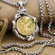 925 Sterling Silver Dragon & Brass Phoenix Mens Boys Biker Rocker Punk Pendant 9F021 Stainless Steel Necklace 24inch