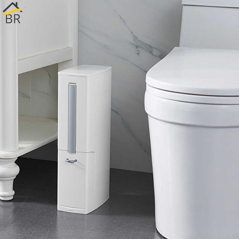 BR 6L Estreita Lata De lixo de Plástico Conjunto com Escova de Vaso Sanitário Do Banheiro Resíduos Bin Lixo Latas de Lixo Balde de Lixo Saco de Lixo dispenser