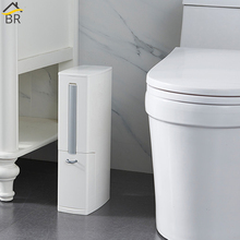 BR 6L Narrow Plastic Trash Can Set with Toilet Brush Bathroom Waste Bin Dustbin Trash Cans Garbage Bucket Garbage Bag Dispenser