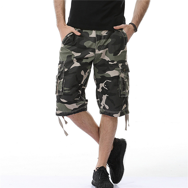 Fashion KIBYS Camouflage Camo Cargo Shorts Men Casual Shorts Male Loose Work Shorts Military Short 2018 New Arrival