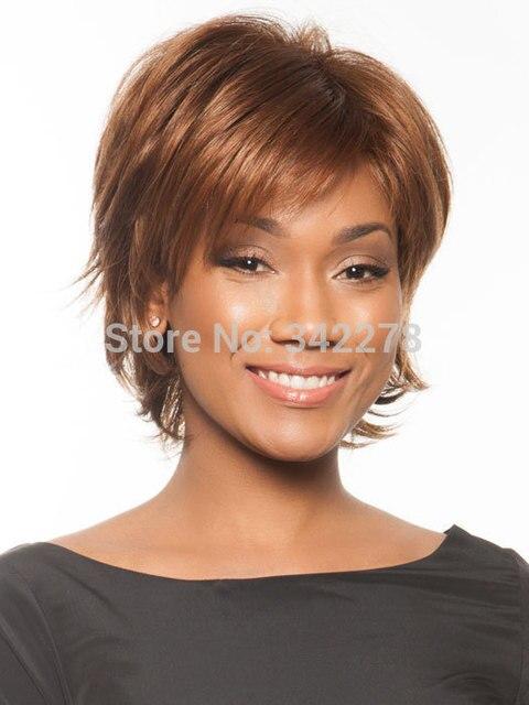 Moda Sexy Kobiet Cut Fryzura Peruki Syntetyczne Krótkie Włosy