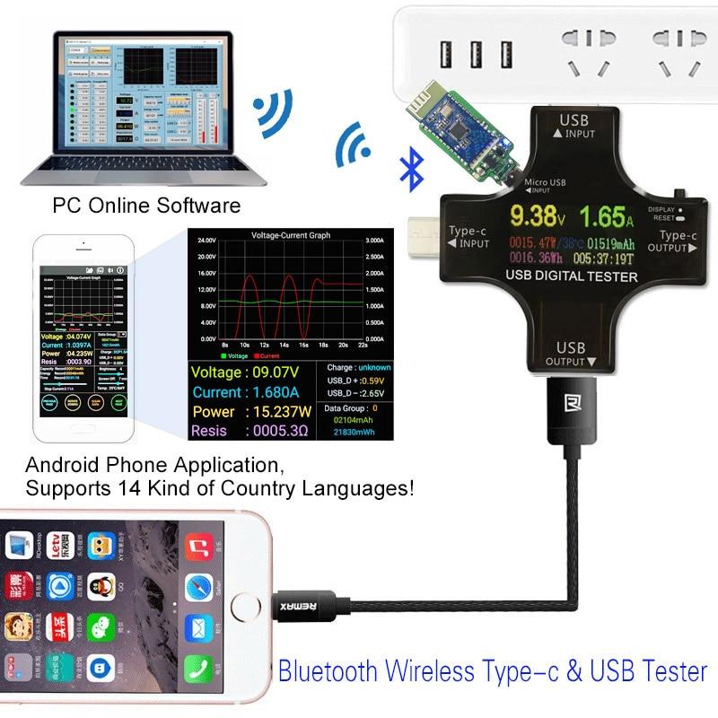 PD USB Color tester 12 in 1 DC Digital voltmeter current voltage Type-C meter amp ammeter detector power bank charger indicator