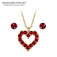Neoglory MADE WITH SWAROVSKI ELEMENTS Crystal Silver Plated Red Heart Pendant Jewelry Sets for Women Hot Gifts 2018 New FA V1