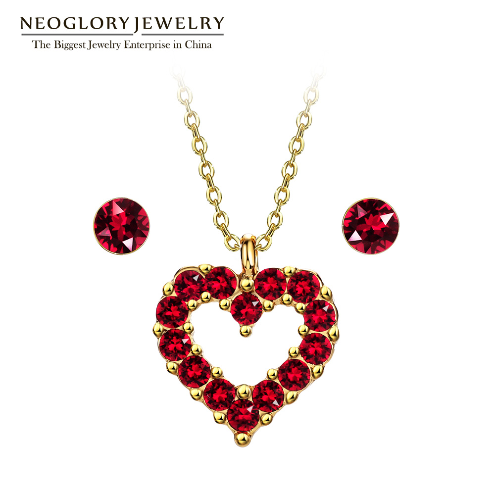 Neoglory Made With Swarovski Elements Crystal Silver Plated Red Heart  Pendant Jewelry Sets For Women Hot Gifts 2017 New Fa V1