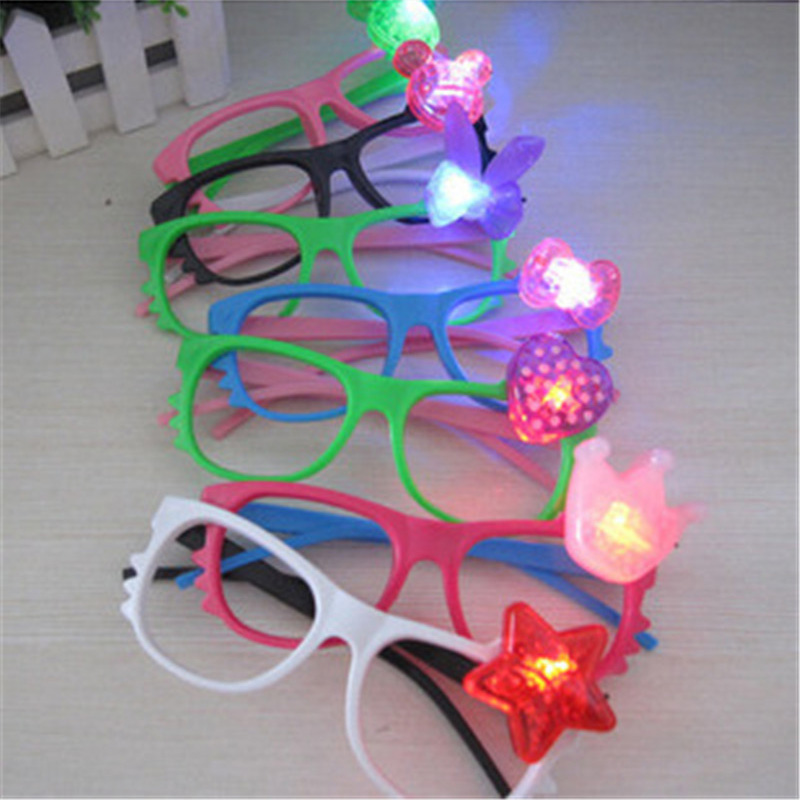 12pcs/lot New fed flashing kitty glasses toys glow light glasses super cute cartoon plastic glasses kids toy party supplies
