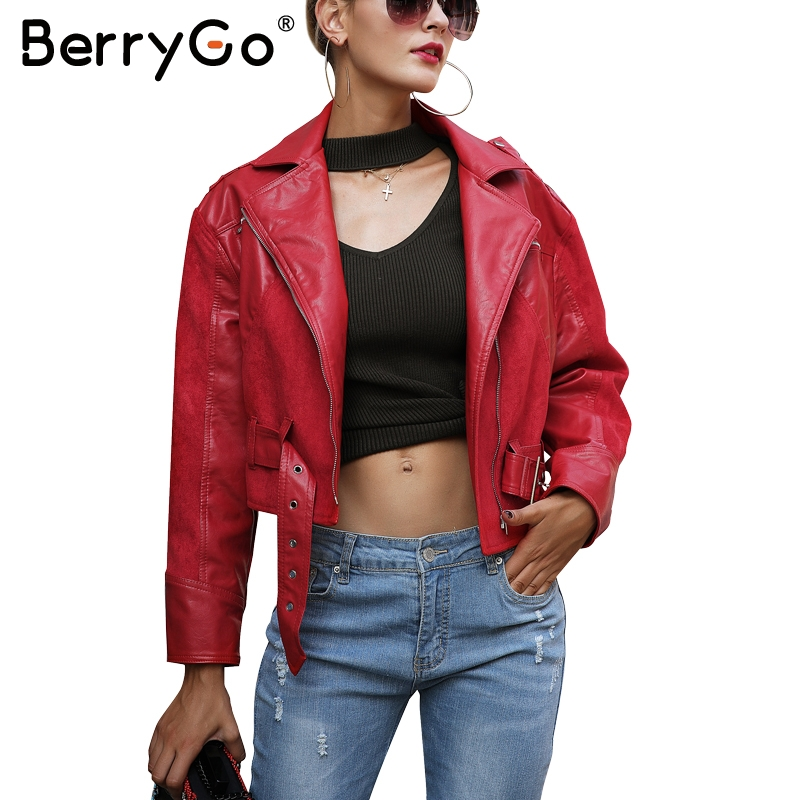 BerryGo Fashion red PU leather   jacket   coat female Belt zipper suede patchwork   basic     jacket   Casual outerwear faux leather coat