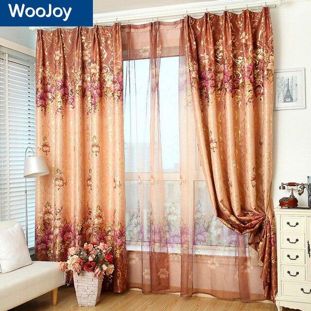 Dorato ricamato tende oscuranti per soggiorno pannelli della finestra tende per la camera da - La finestra della camera da letto ...