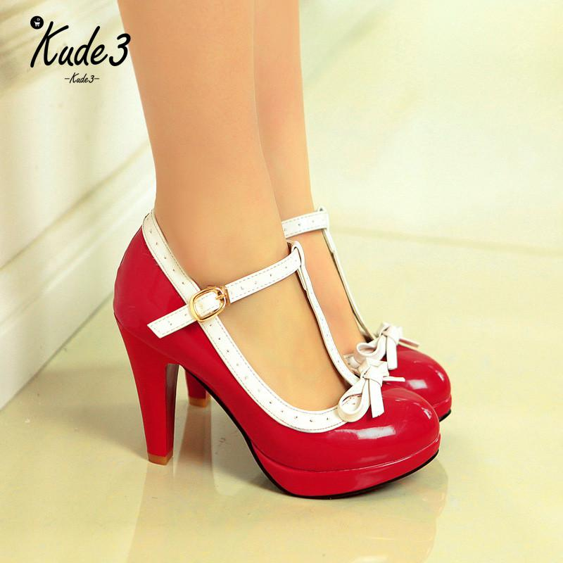 Princess <font><b>Lolita</b></font> Mary Jane <font><b>Shoes</b></font> Woman High Heels Red White Bowtie Ladies Summer Strap Spike Heel Pumps Party Summer 8446 image