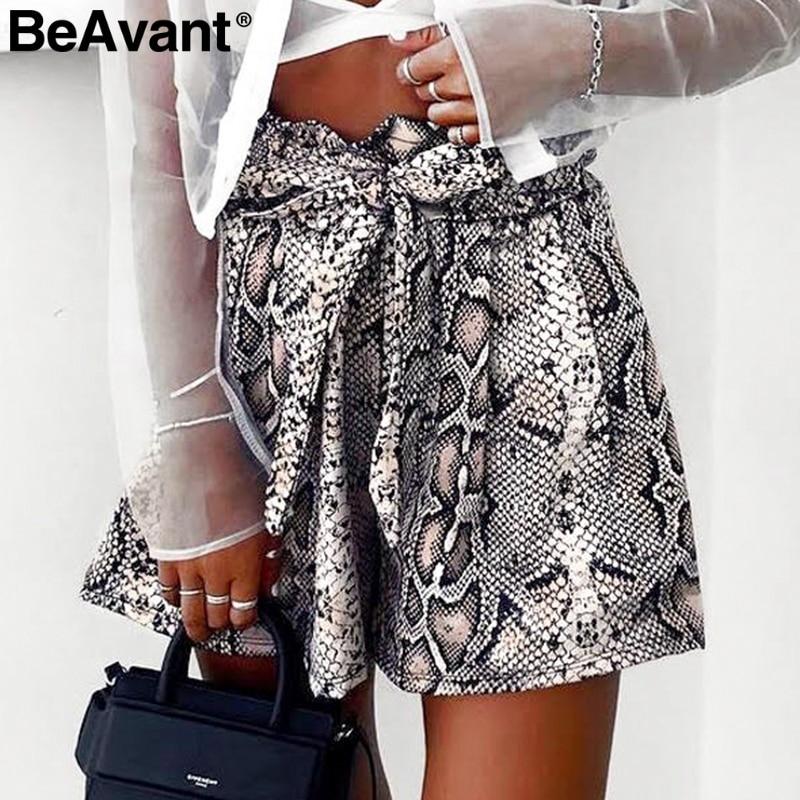 BeAvant Sexy snake print high waist   shorts   women Sash elastic summer   shorts   female Casual animal pattern vintage fashion bottoms
