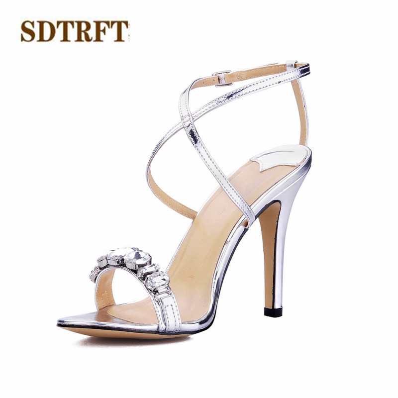 SDTRFT Stilettos Plus:35-40 zapatos mujer 10cm Thin Heels Cross-strap shoes woman sexy Sandals Gold/Sliver Diamonds pumps cdts 35 45 46 summer zapatos mujer peep toe sandals 15cm thin high heels flowers crystal platform sexy woman shoes wedding pumps