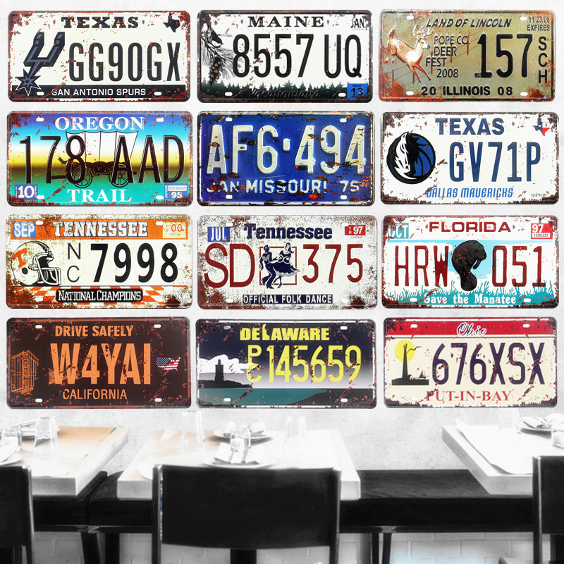 Texas Car Number License Plates Vintage Metal Tin Signs Home Decor Bar Garage Cafe Motorcycle Decorative Plates USA Art Posters