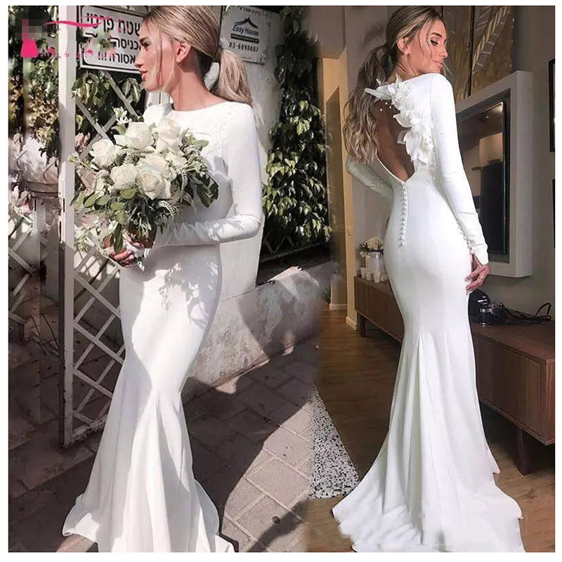 Mermaid New Wedding Dress 2019 3D Flowers Sexy Long Sleeves Bridal Dress Open Back Beach Wedding Gowns