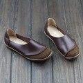 Sapatas das mulheres Hand-made do Couro Genuíno Das Senhoras Sapatos Baixos Rodada Toe Deslizamento em Preguiçosos Mocassins Calçados Femininos (5188-2)