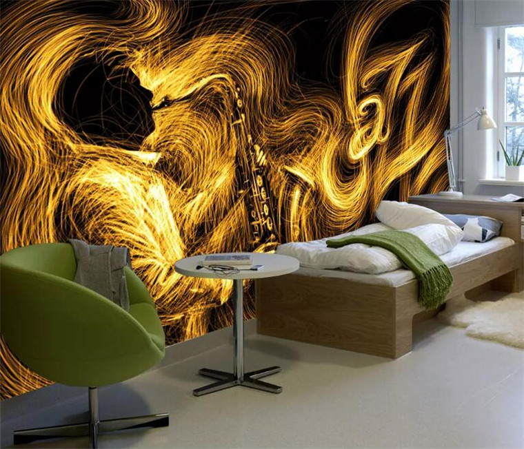 Custom size abstract golden saxophone jazz music background wall decoration Murals Living Room Bedroom Home Decor Wall PaperCustom size abstract golden saxophone jazz music background wall decoration Murals Living Room Bedroom Home Decor Wall Paper