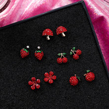 Korea Lucu Merah Berlian Imitasi Buah Stud Anting-Anting untuk Wanita Strawberry Cherry Bunga Jamur Anting-Anting Fashion Perhiasan Hadiah MJ1432(China)
