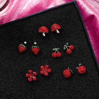 Cute Korean Red Rhinestone Fruit Stud Earrings for Women Strawberry Cherry Flower Mushroom Earring Fashion Jewelry.jpg 350x350 - Cute Korean Red Rhinestone Fruit Stud Earrings for Women Strawberry Cherry Flower Mushroom Earring Fashion Jewelry Gift MJ1432