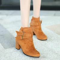 New Fashion Women Winter Boots Pu Leather Shoes 2017 High Quality Short Boots Low Heel Buckle