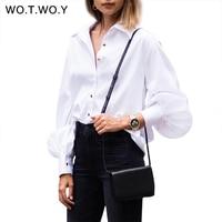 WOTWOY Lantern Sleeve White Shirts Women Office Blouse Turn Down Collar Tops Shirt Women Fashion Long