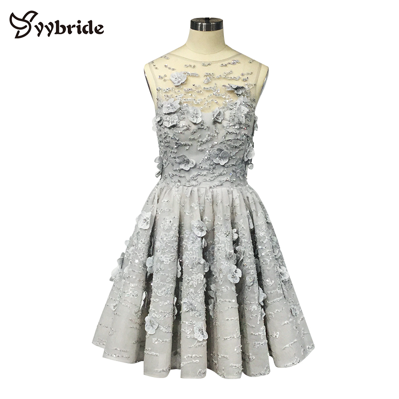 YYbride New Real Tailor Made Silver Color Above Knee Mini Skirt Party   Dresses   Scoop Neck Back V-Neck Short   Cocktail     Dresses