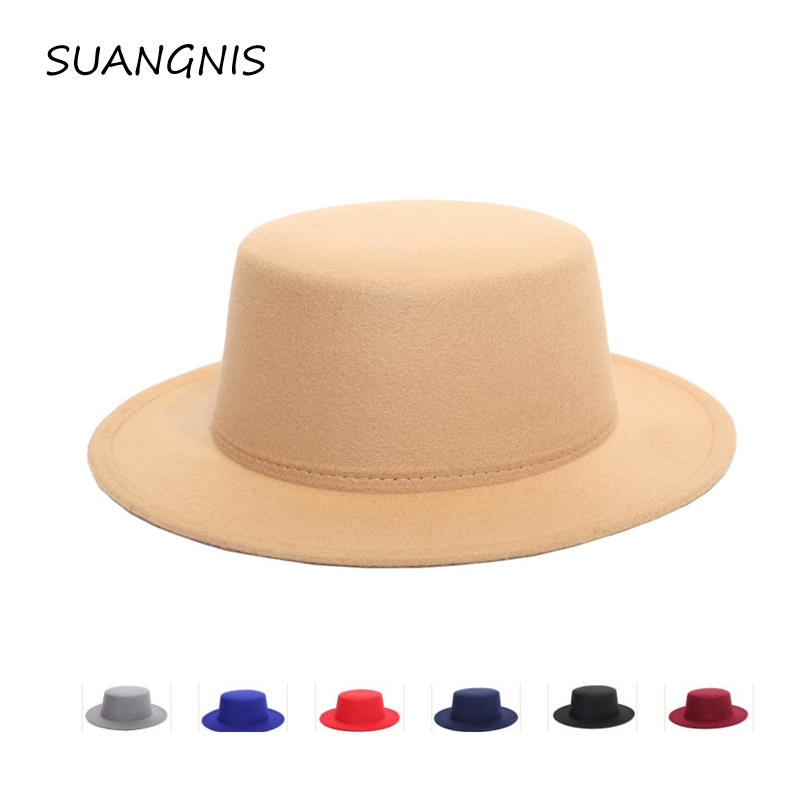 Autumn Winter Mens Hats Fedoras Vintage Women Girls Felt Fedoras Flat Top Jazz Hat European American Round Caps Bowler Hats(China)