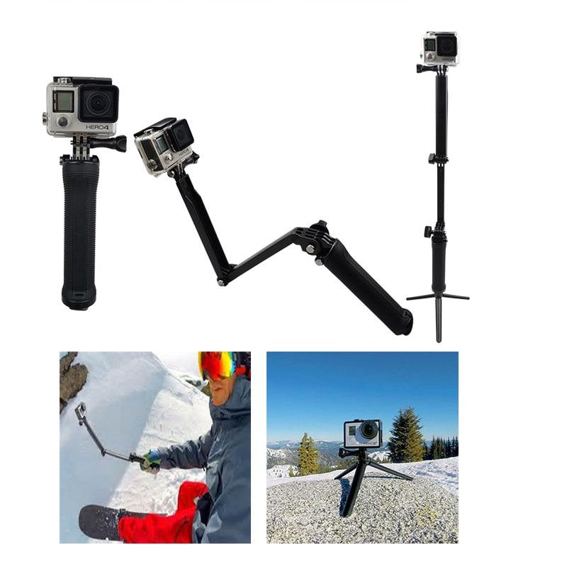 For Gopro Hero4 Accessories 3way Grip Arm Tripod Monopod Mount Selfie Stick For Hero 5 4
