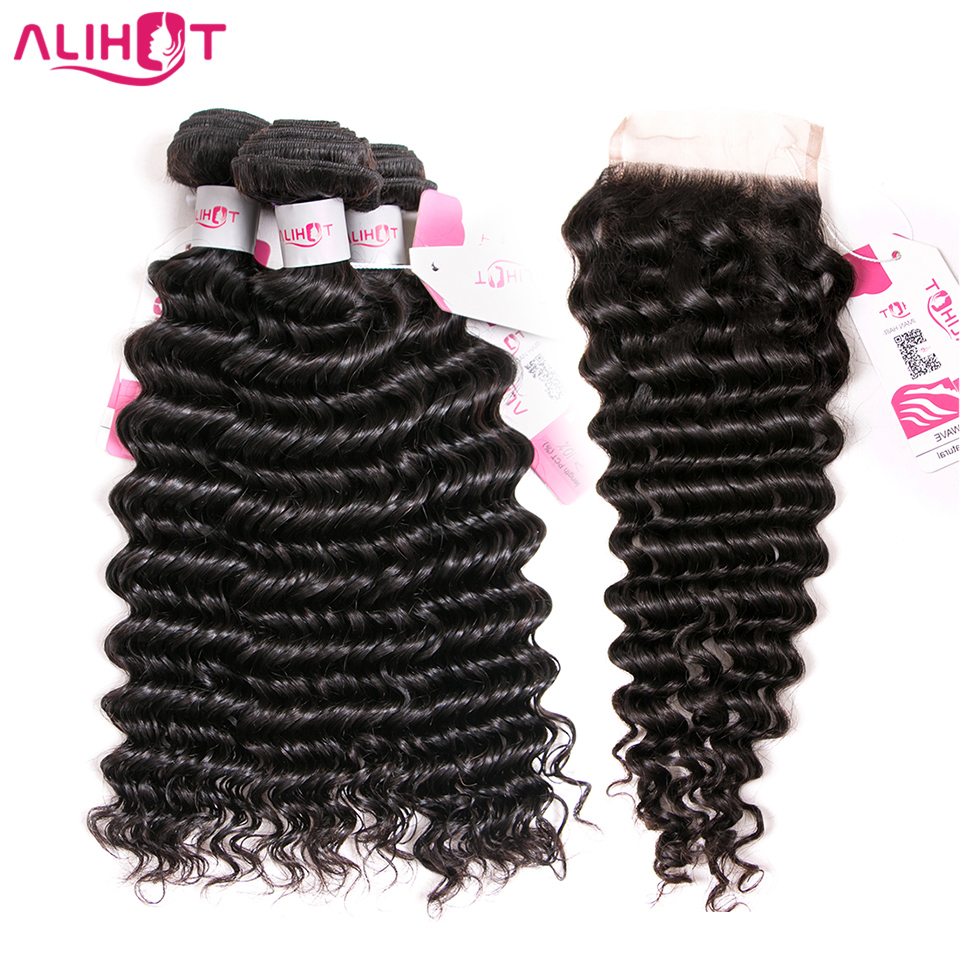 ALI HOT Brazilian Deep Wave 3 bundles With Lace Closure Human Hair Bundles With Closure 4Pcs Remy Hair Extension Free Shipping
