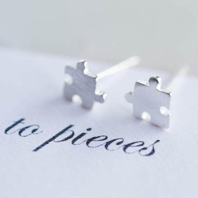 KAMEIER European Fashion Cartoon earrings for women Simple design tiny jigsaw pu