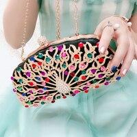 Women Luxury Handbags Peacock Clutch Bags Crystal Evening Bag Black Wedding Bridal Purse Ladies Small Crossbody Shoulder Bags