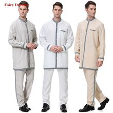Casual Muslim Men Clothes 2 Piece Set Tops And Pants Saudi Arabia Pakistan Arabe Musulman 2019 Islamic Clothing Shirt Trousers(China)