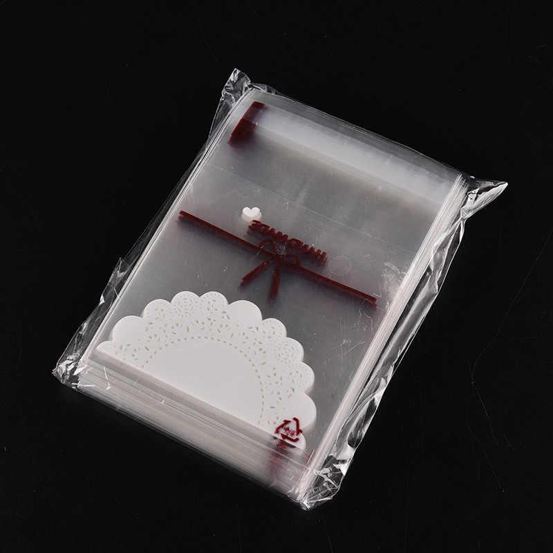 100 Stuks Kant Bakkerij Handgemaakte Cookie Sieraden Tassen Favor Cello Zelfklevende Kleine Opp Gift Bag