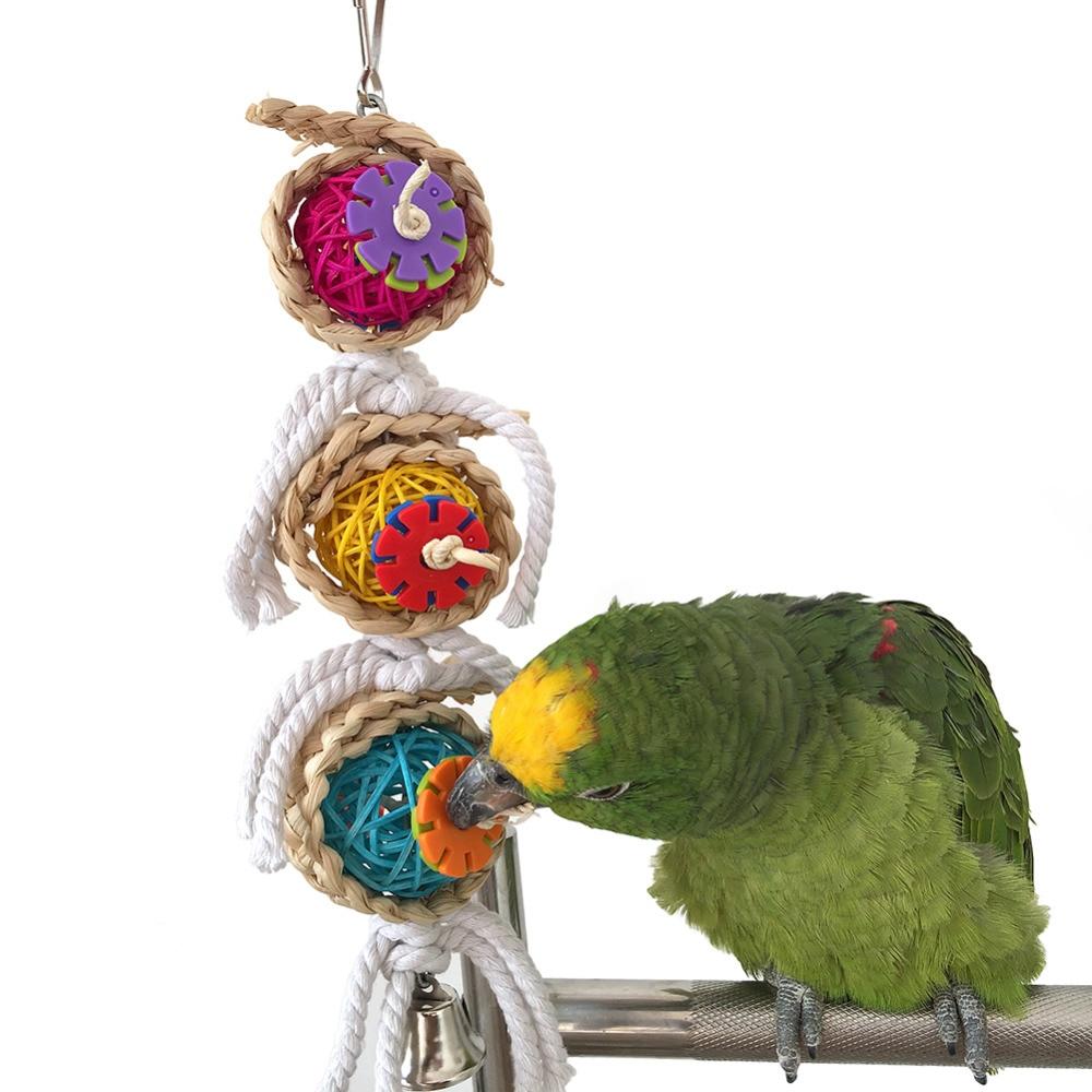 Pet Kuş Papağan Parakeet Topu Pamuk Dize Oyuncak Cockatiel Conure - Evcil Hayvan Ürünleri - Fotoğraf 1