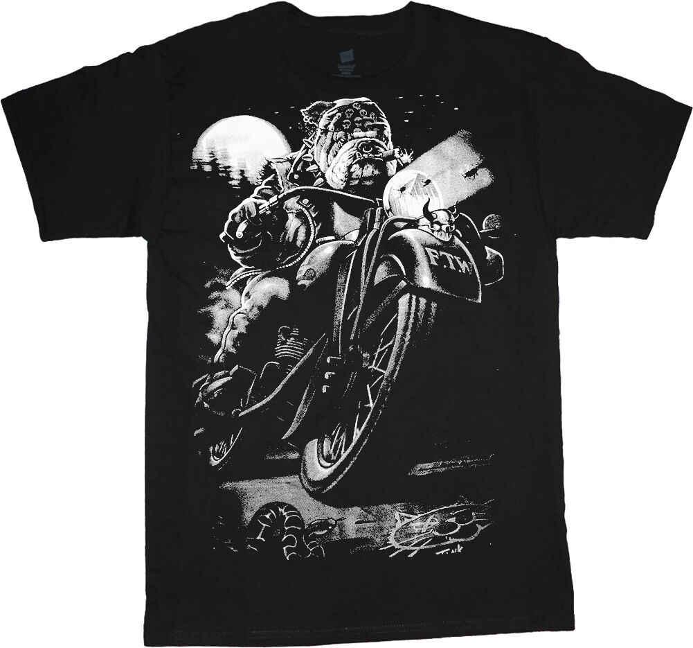 Big men's t-shirt Biker Bulldog decal tee plus size big tall 4X 5X 6X 7X 10X