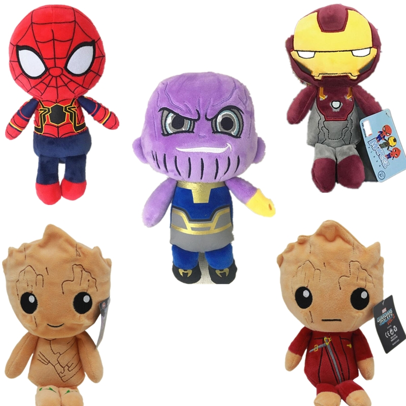 20cm The Avengers 3 Plush Toys Iron Man Deadpool Thanos Spiderman Baby Groote Stuffed Plush Toys Super Hero Doll Soft Toy