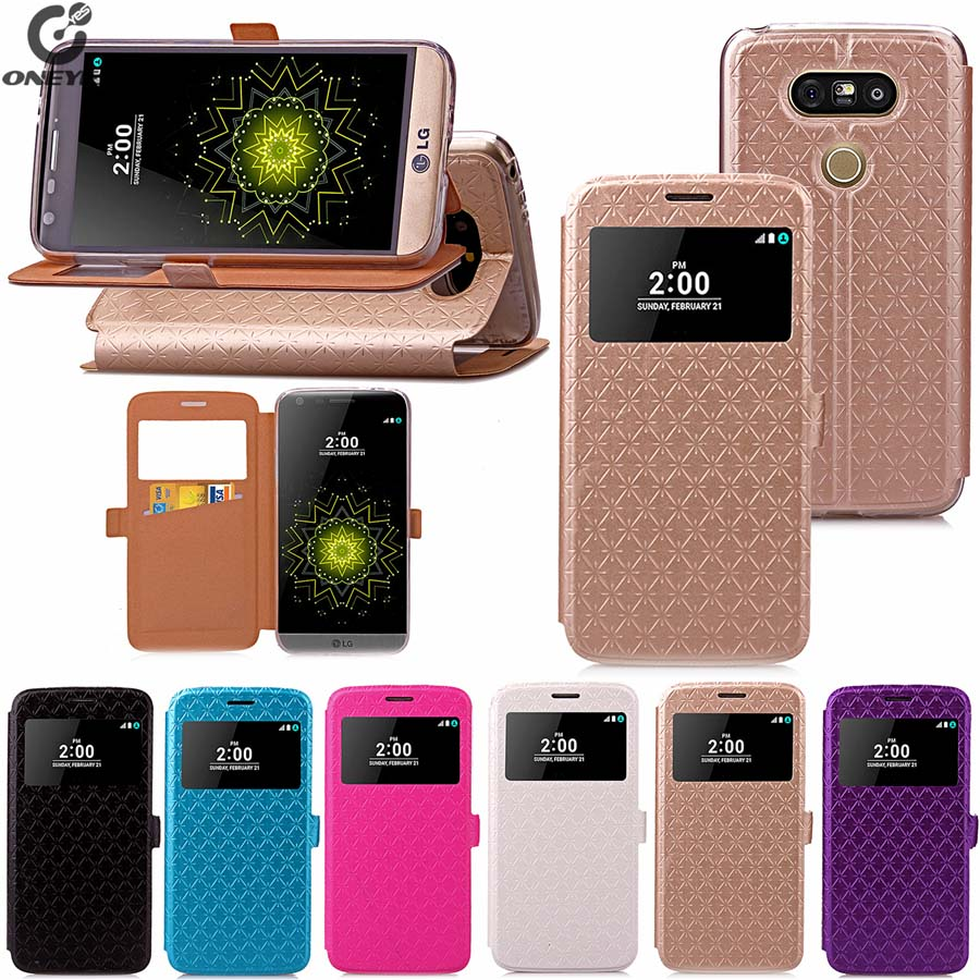 Luxury leather PU+TPU smart view window flip phone case cover For LG G5 Flip G6 with screen